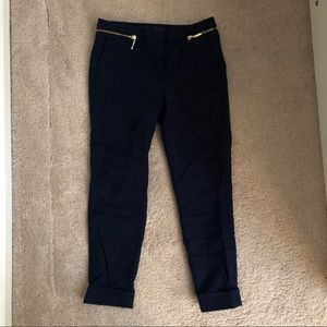 Navy cotton ankle pants
